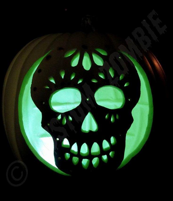 Sugar Skull Pumpkin Stencil Beautiful Pumpkin Stencil Sugar Skull Carving Crafts by Customzombie