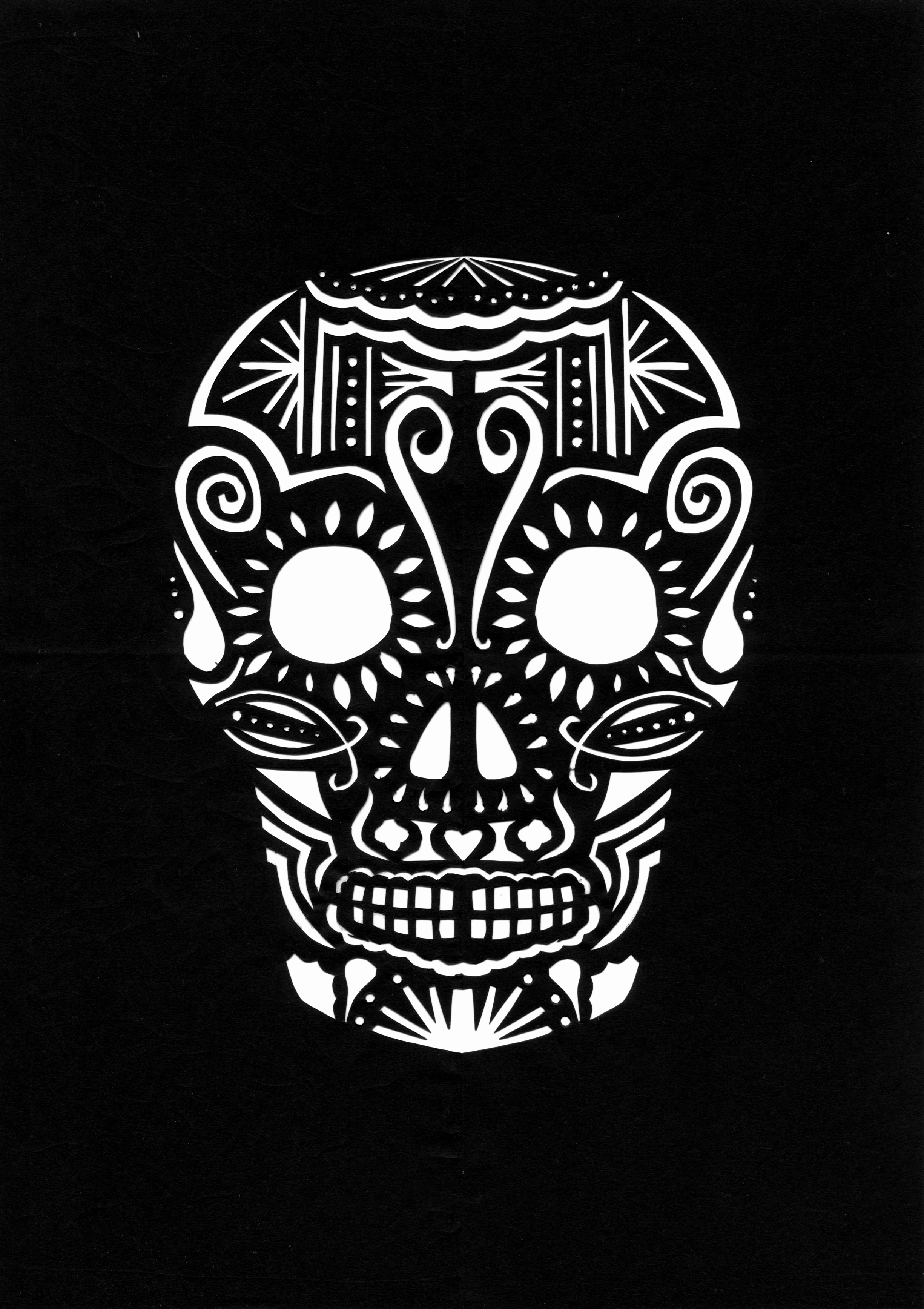 Sugar Skull Pumpkin Stencil Inspirational Day Of the Dead Skull Paper Cut Back with Colorful