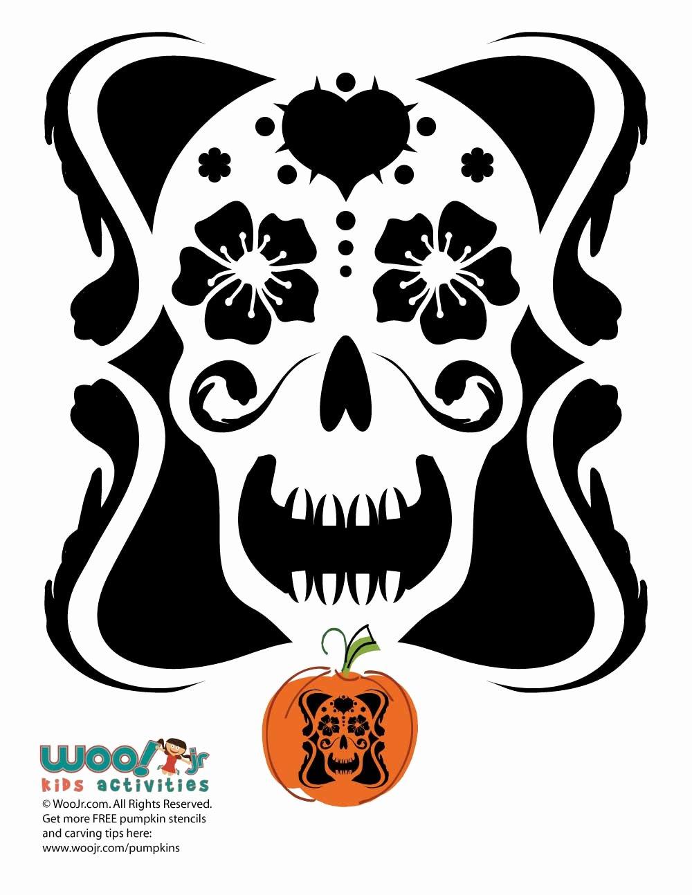 Sugar Skull Pumpkin Stencil Unique Sugar Skull Pumpkin Design