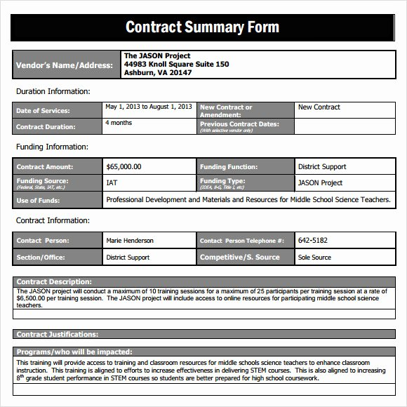 Summary Document Template Awesome Sample Contract Summary Template 10 Free Documents In Pdf