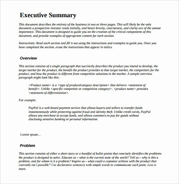 Summary Document Template Luxury 31 Executive Summary Templates Free Sample Example