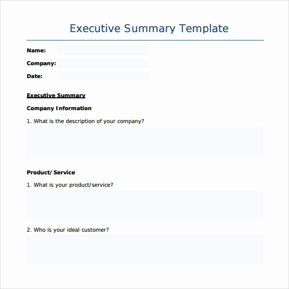 Summary Document Template Unique Sample Executive Summary Template 7 Free Documents In