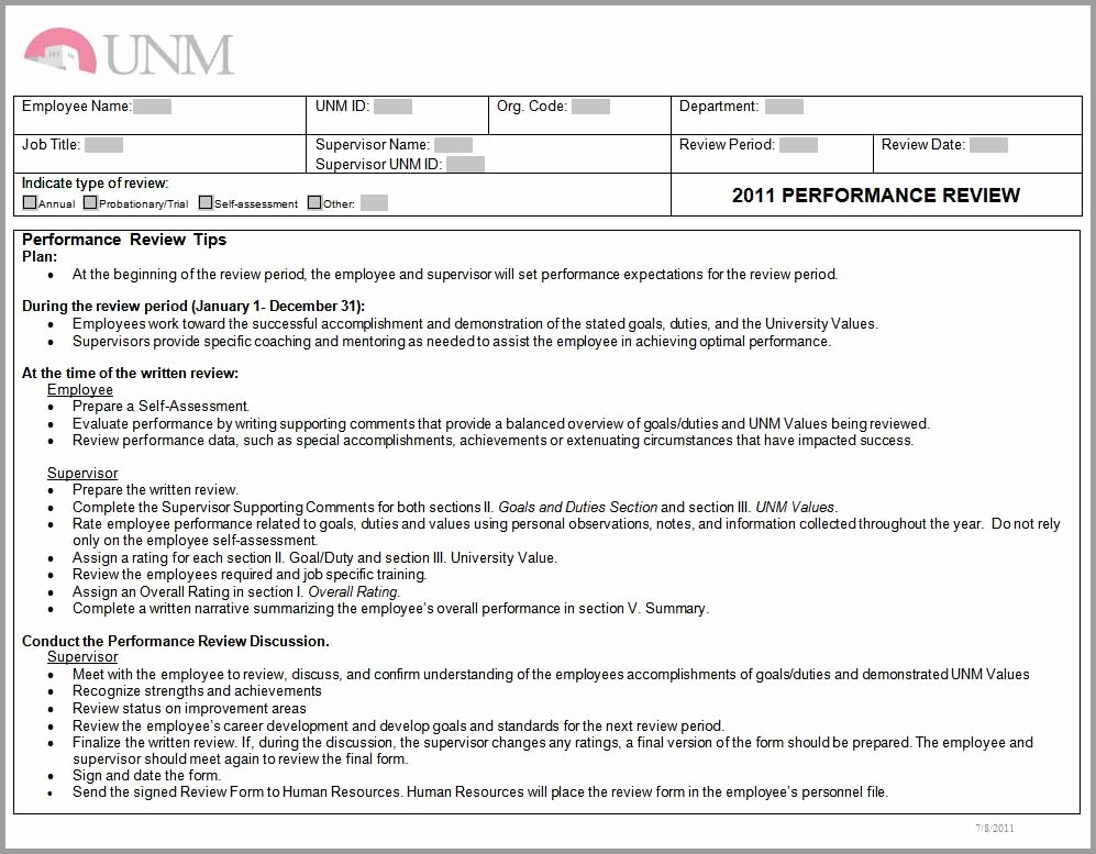 Summary Of Performance Examples Elegant Training Unm Human Resources
