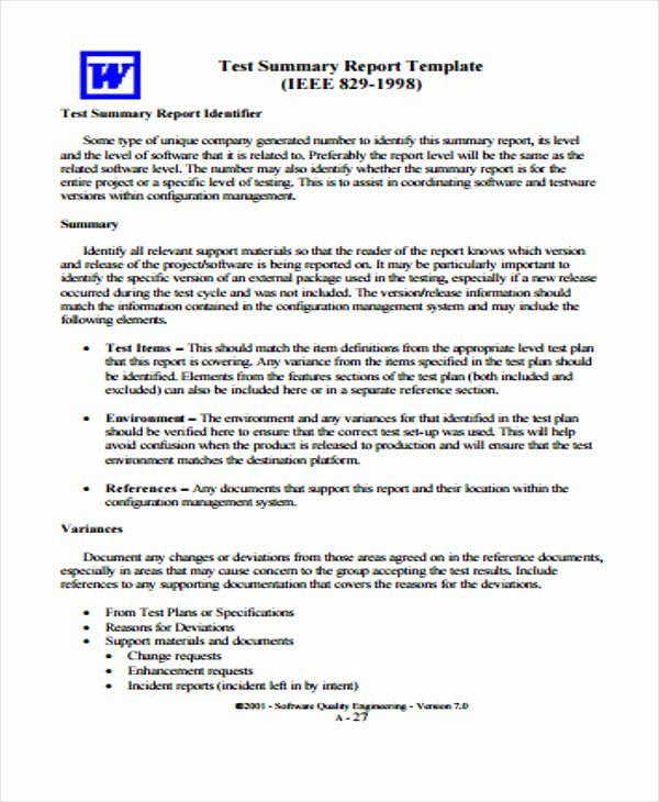 Summary Report format Inspirational 9 Test Report Templates Free Pdf Google Docs Word