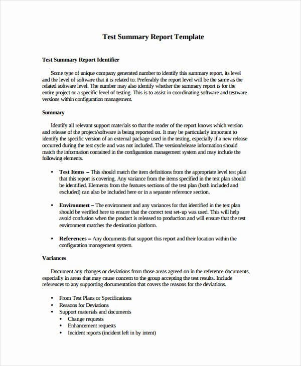 Summary Report format Lovely 10 Test Report Templates Free Word Pdf format Download