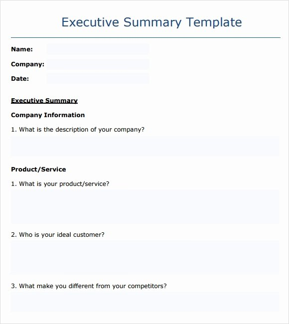 Summary Report format New Executive Report
