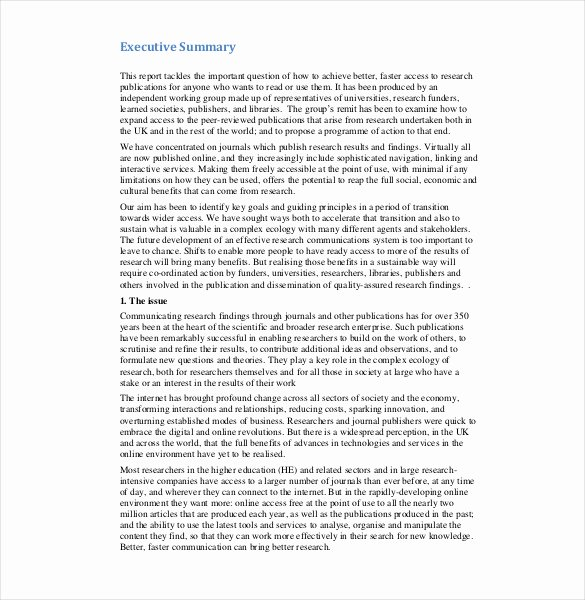 Summary Report format New Executive Report Template 14 Free Sample Example