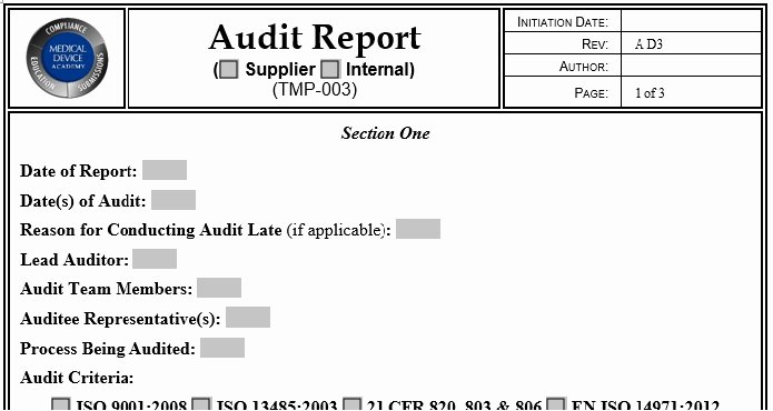 Supplier Audit Template Awesome Supplier Auditing tool Kit Medical Device Academy