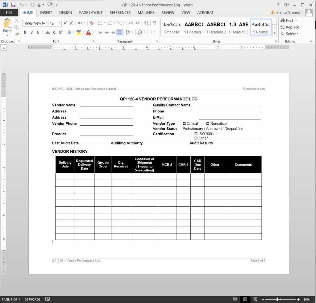 Supplier Audit Template Best Of Vendor Performance Log iso Template