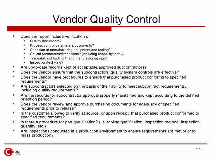 Supplier Audit Template New Vendor Audits