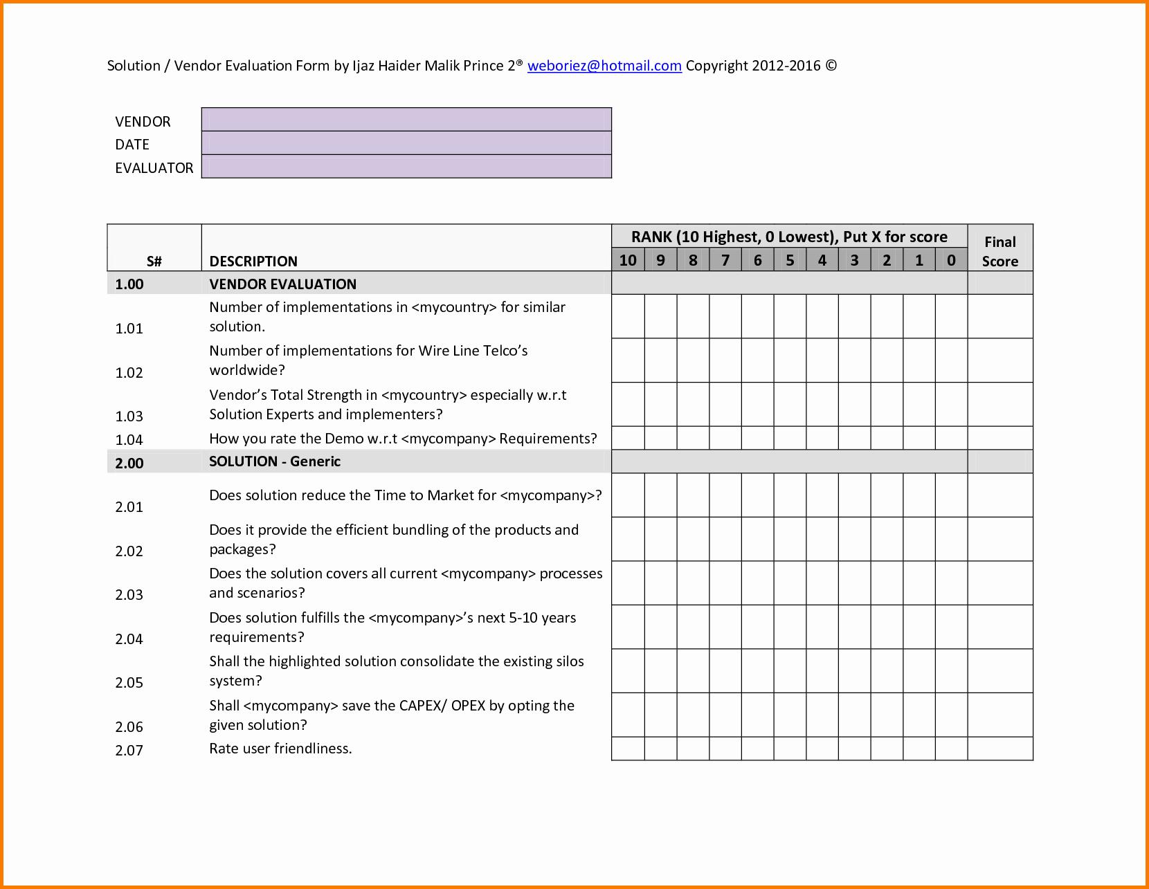 Supplier Evaluation Template Beautiful Vendor Evaluation Template