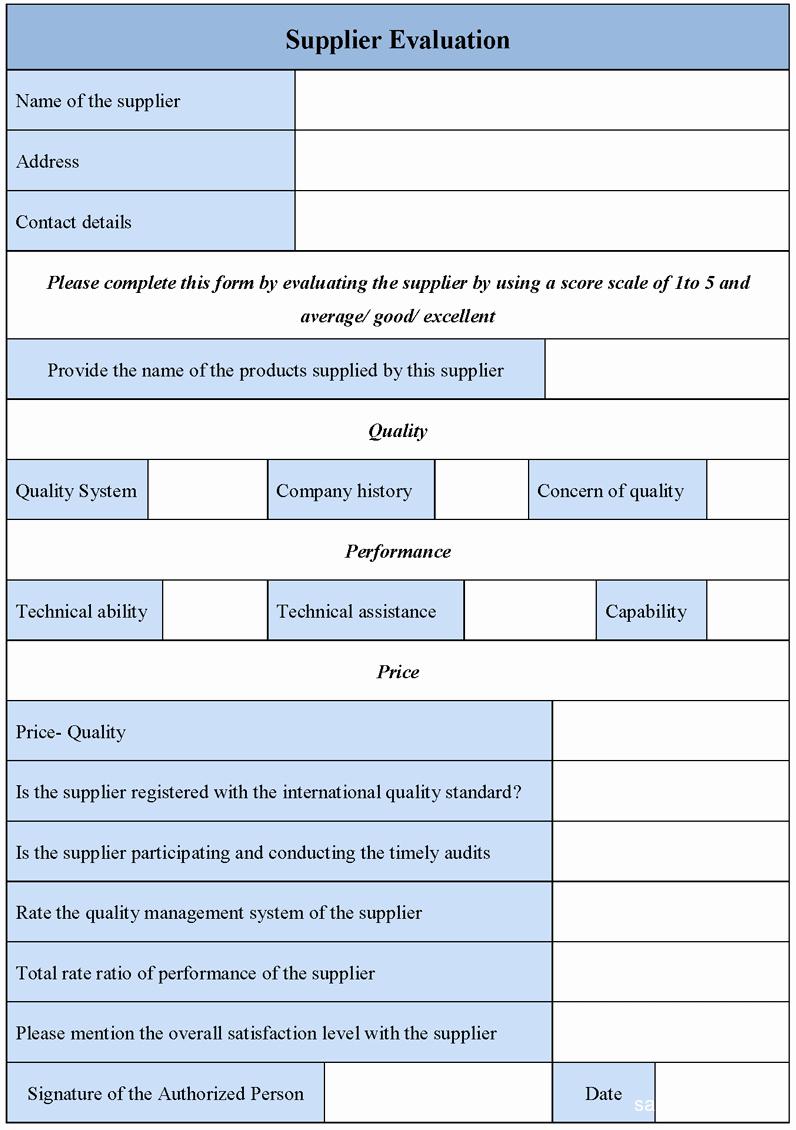 Supplier Evaluation Template Inspirational Supplier Evaluation form Sample forms