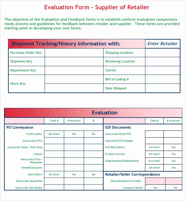 Supplier Evaluation Template New Supplier Evaluation Template 9 Free Download for Pdf Word
