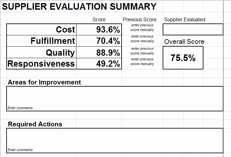 Supplier Questionnaire Template Best Of Supplier Evaluation Scorecard Download for Microsoft Excel
