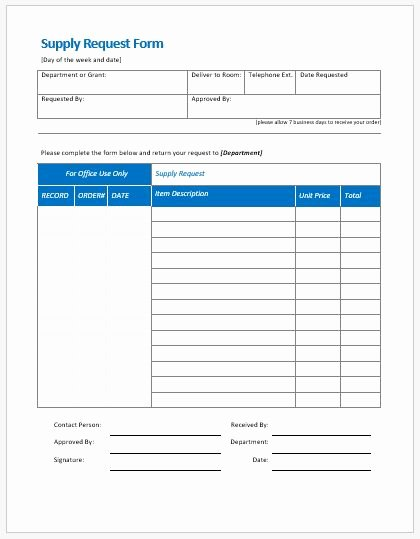 Supplies order form Best Of Supply Request form Templates Ms Word