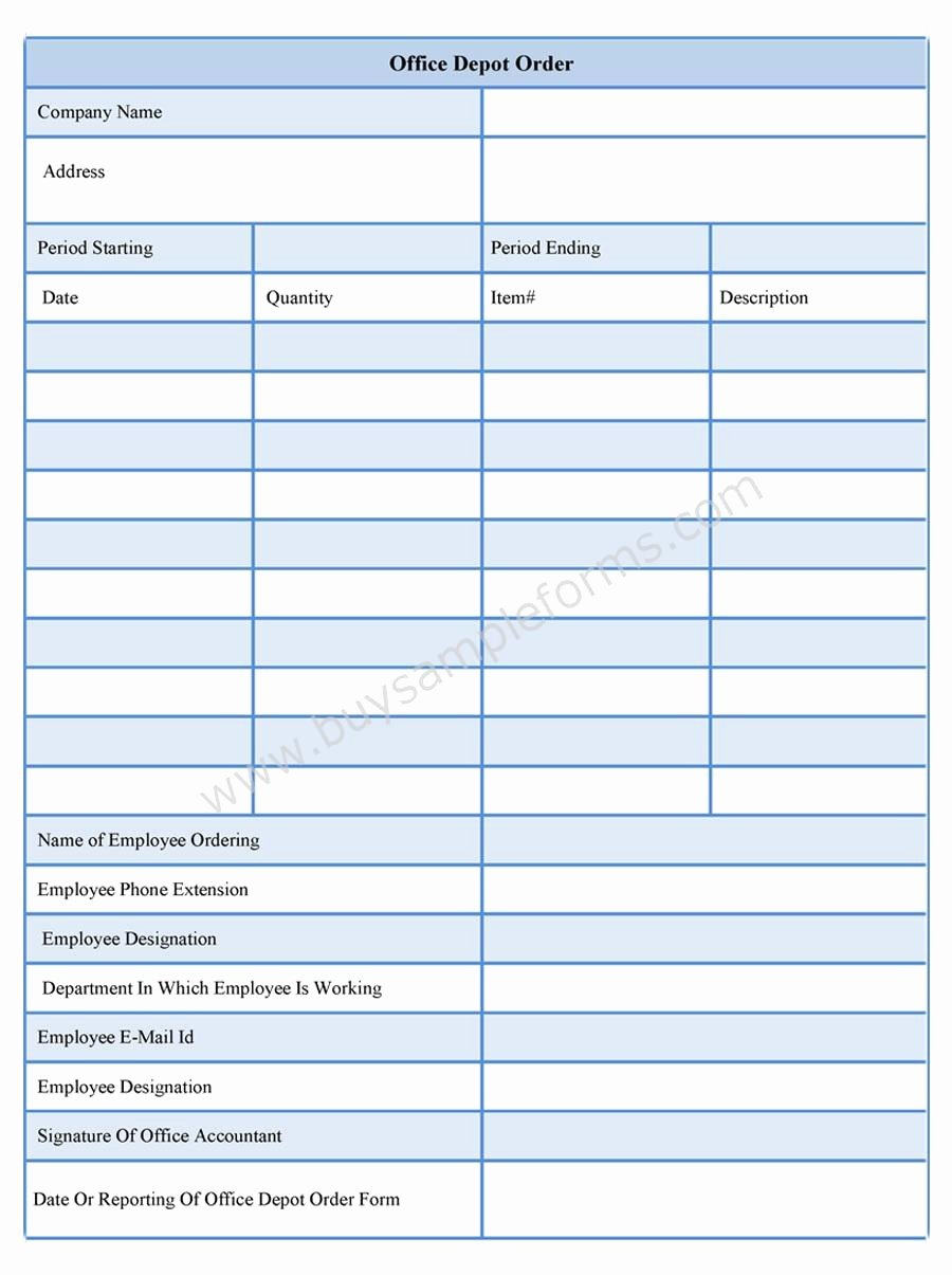 Supplies order form New Fice Depot order form