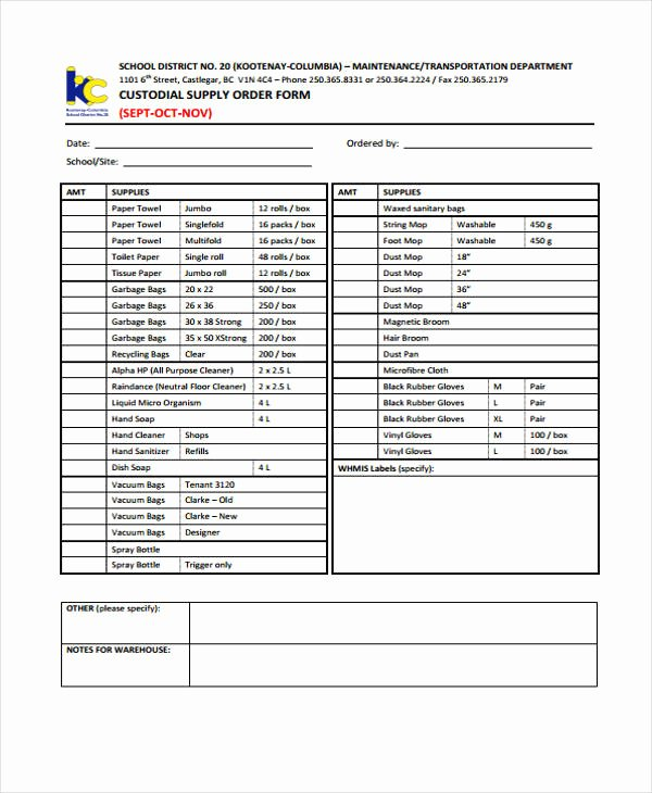 Supplies order form Unique 10 Supply order Templates Free Sample Example format