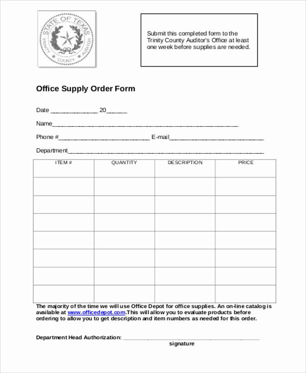 Supply order forms New 9 Printable order form Samples