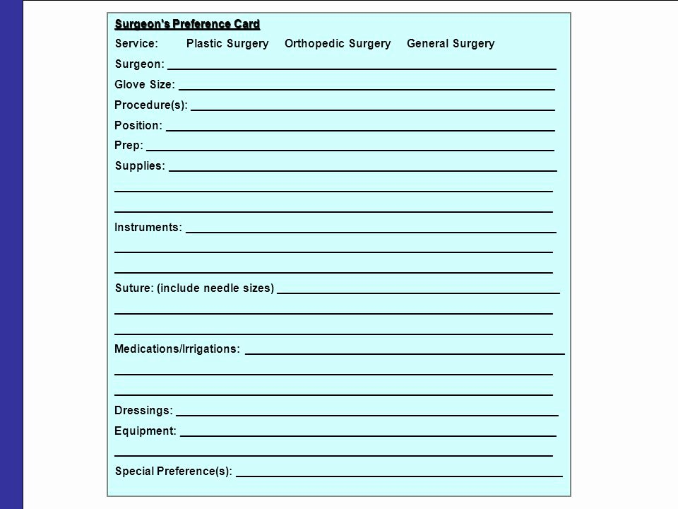 Surgeon Preference Card Template Beautiful Case Cart Systems Ppt Video Online