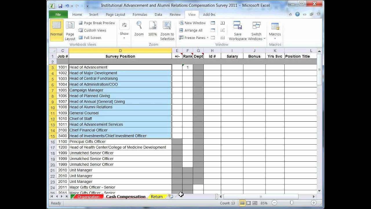 Survey Results Excel Template Lovely 2011 Institutional Advancement & Alumni Relations