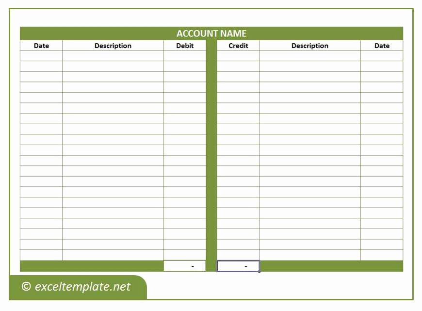 T Account Template Excel Lovely General Ledger