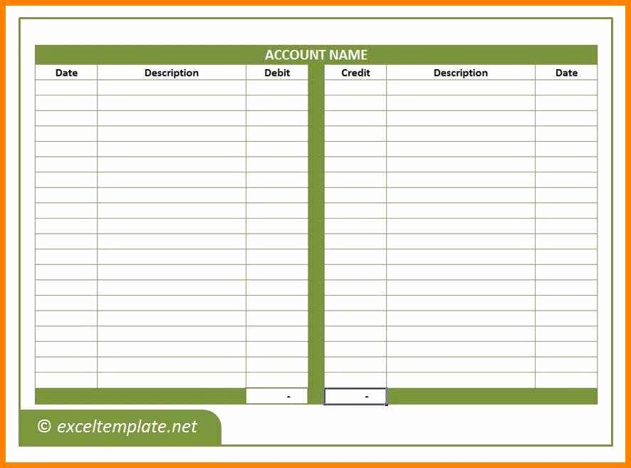 T Account Template Excel Unique T Account Template