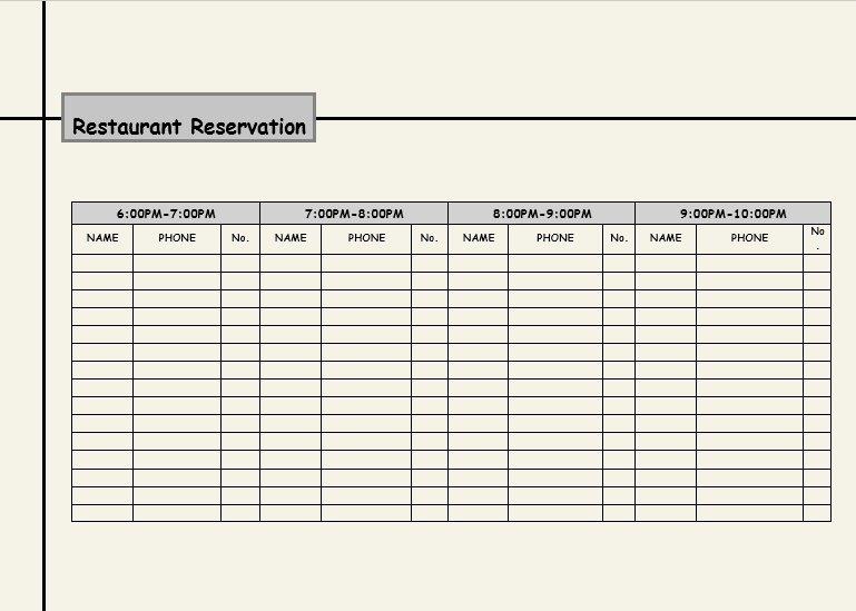 Table Reservation Template Best Of 2 Restaurant Reservation Log Templates Excel Xlts