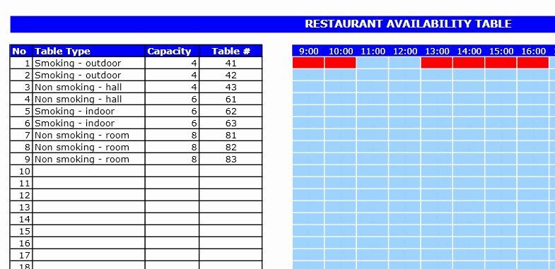 Table Reservation Template Elegant Restaurant Reservation Template Excel Templates