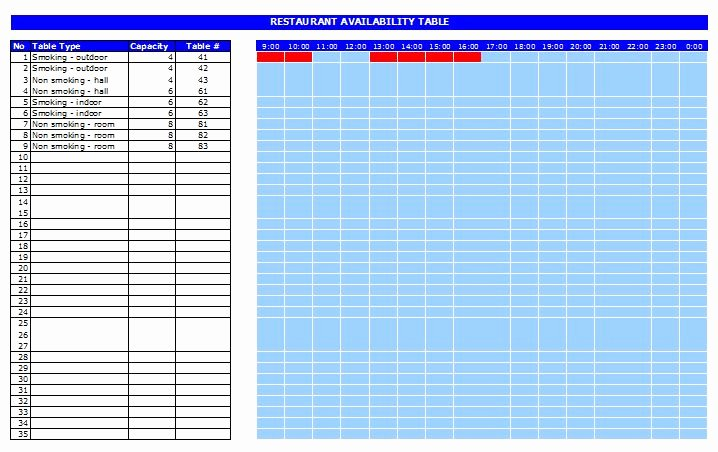 Table Reservation Template Inspirational Restaurant Reservation Template Free Excel Templates and