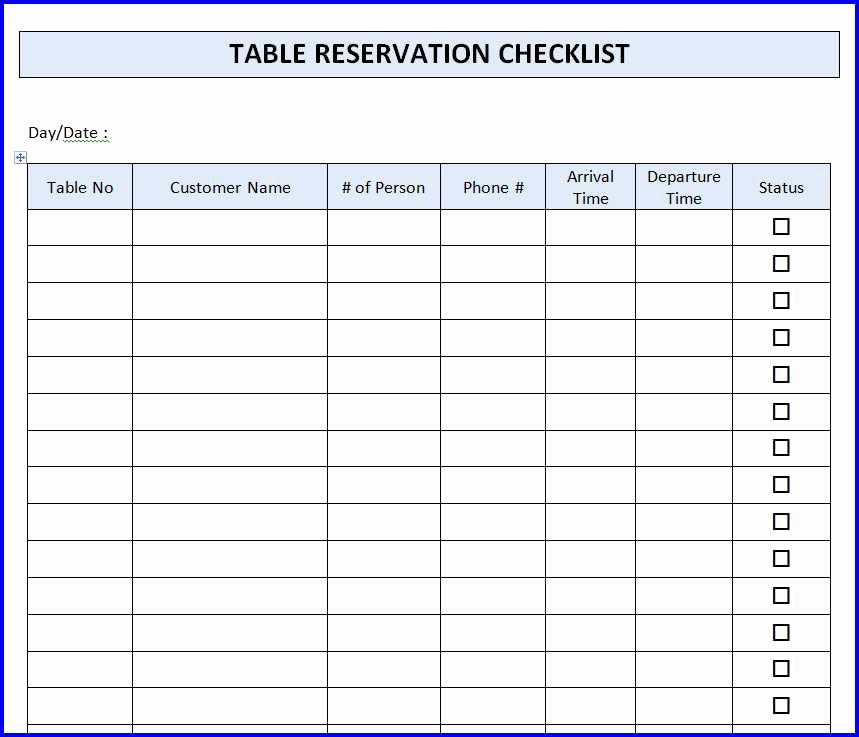 Table Reservation Template Inspirational Restaurant Table Reservation Checklist Template Ms Word