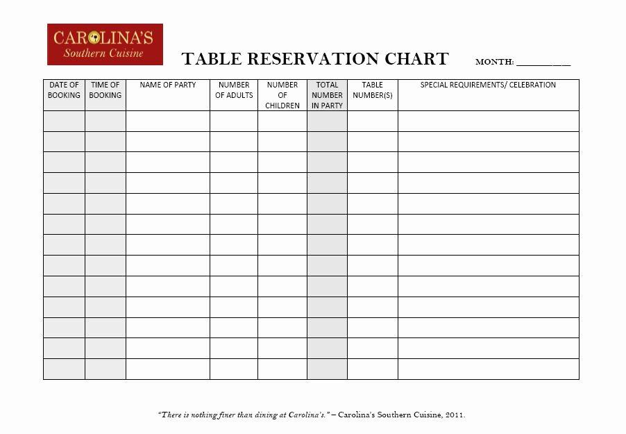 Table Reservation Template Lovely Restaurant Reservation Chart