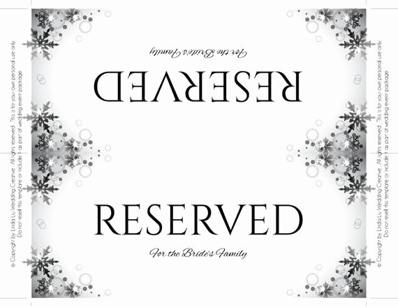 Table Reservation Template New Reserved Table Sign Template Word