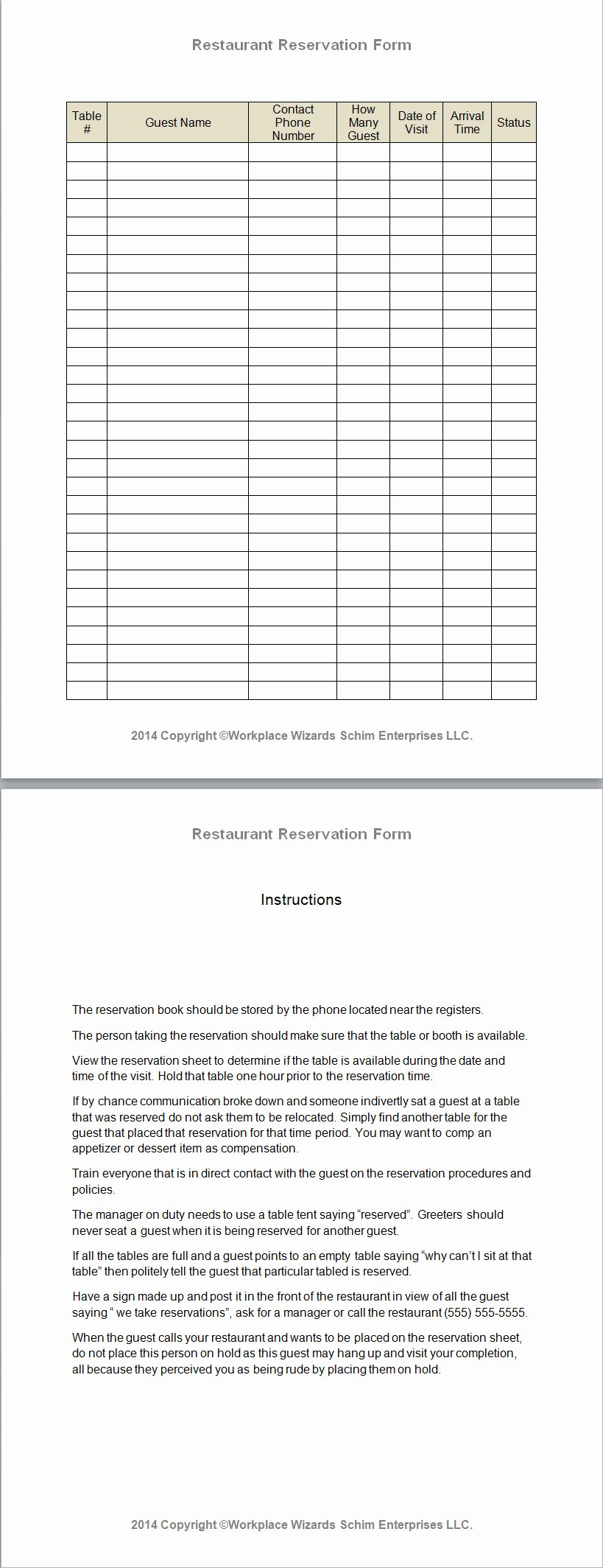 Table Reservation Template Unique Restaurant Reservation form Workplace Wizards New