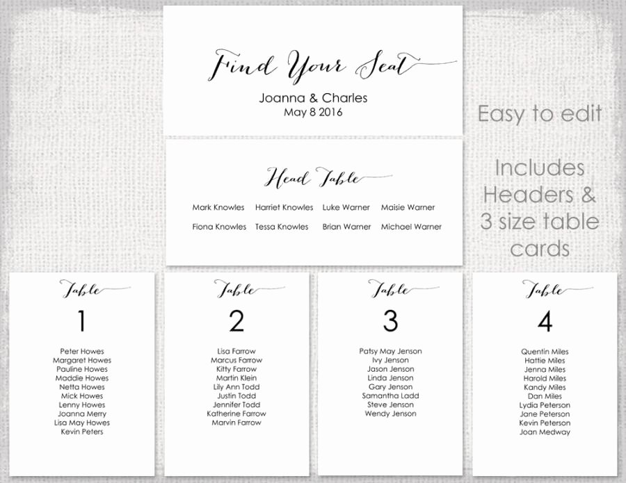 "Table Seating Chart Template Microsoft Word Awesome Wedding Seating Chart Template Black ""bombshell"" Diy"