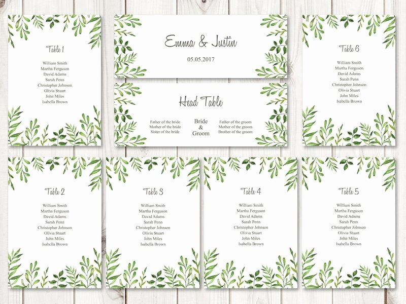 "Table Seating Chart Template Microsoft Word Beautiful Watercolor Wedding Seating Chart Template ""lovely Leaves"