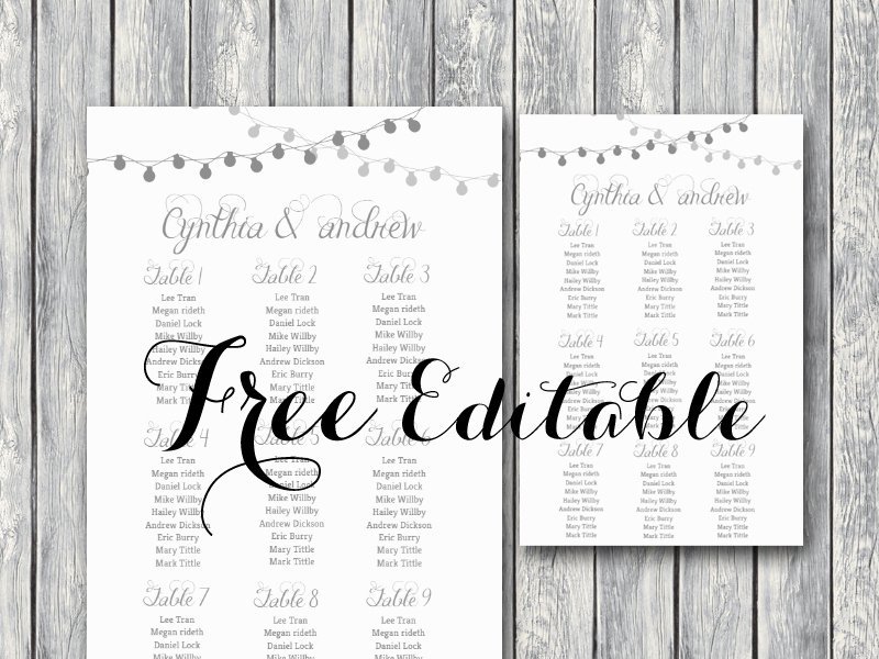 Table Seating Chart Template Microsoft Word Lovely Free Night Light Wedding Chart Printable Bride Bows