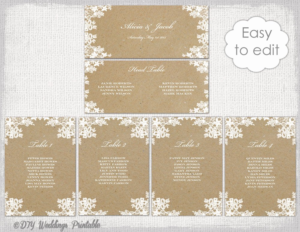 Table Seating Chart Template Microsoft Word Luxury Seating Chart Template Rustic Lace Printable