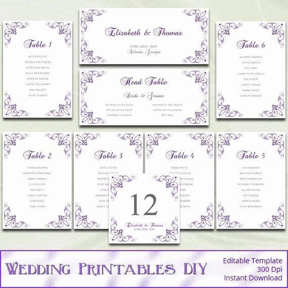 Table Seating Chart Template Microsoft Word Unique Items Similar to Printable Wedding Seating Chart Template