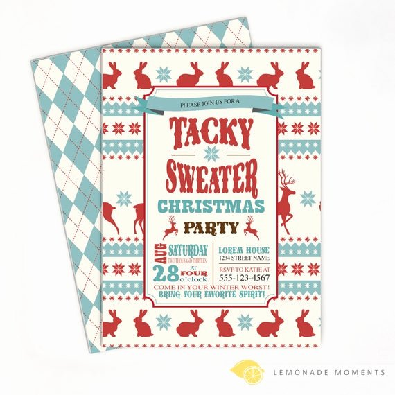Tacky Christmas Sweater Party Invitation Wording Awesome Ugly Sweater Invitation Tacky Sweater Christmas Party