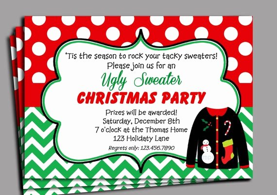 Tacky Christmas Sweater Party Invitation Wording Best Of Items Similar to Christmas Ugly Sweater Party Invitation