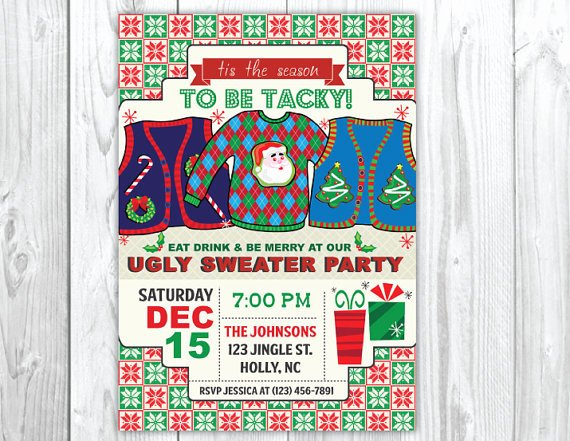 Tacky Christmas Sweater Party Invitation Wording Best Of Throw Your Merriest yet Tacky Christmas Sweater Party