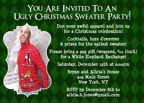 Tacky Christmas Sweater Party Invitation Wording Fresh Items Similar to Ugly Sweater Invitation Christmas Party