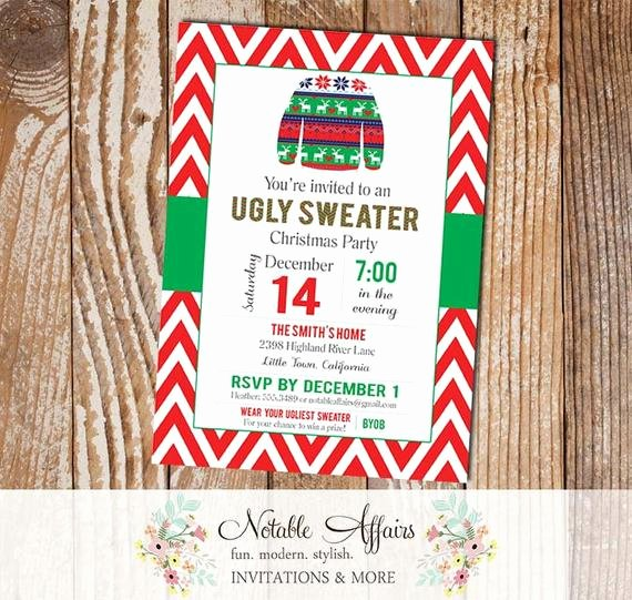 Tacky Christmas Sweater Party Invitation Wording Inspirational Chevron Red and Green Ugly Sweater Tacky Christmas Sweater