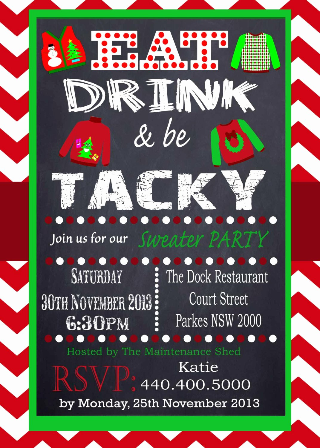 Tacky Christmas Sweater Party Invitation Wording Inspirational Tacky Sweater Party Invitation Chevron Red Chalkboard Uly