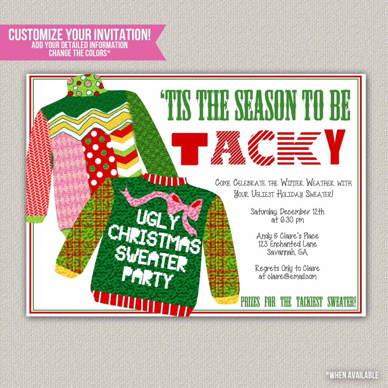 Tacky Christmas Sweater Party Invitation Wording Lovely Tis the Season to Be Tacky Tacky Sweater by Enchanteddesigns4u