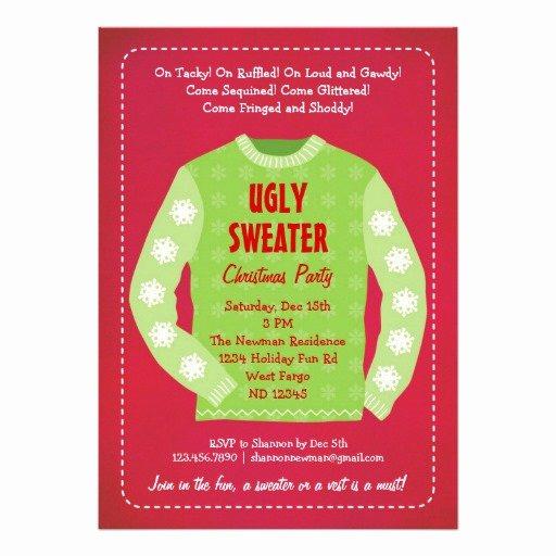 """Tacky Christmas Sweater Party Invitation Wording Lovely Ugly Sweater Holiday Party Invitation 5"""" X 7"""" Invitation"""