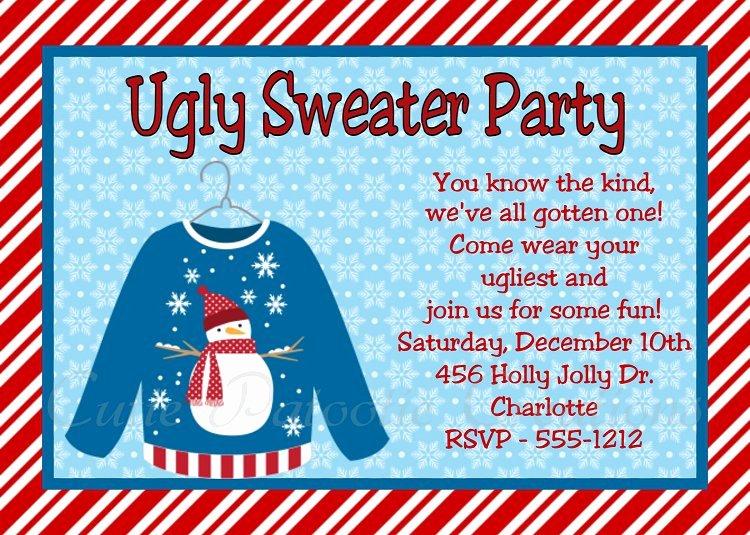 Tacky Christmas Sweater Party Invitation Wording Luxury Ugly Christmas Sweater Party Invitation Templates