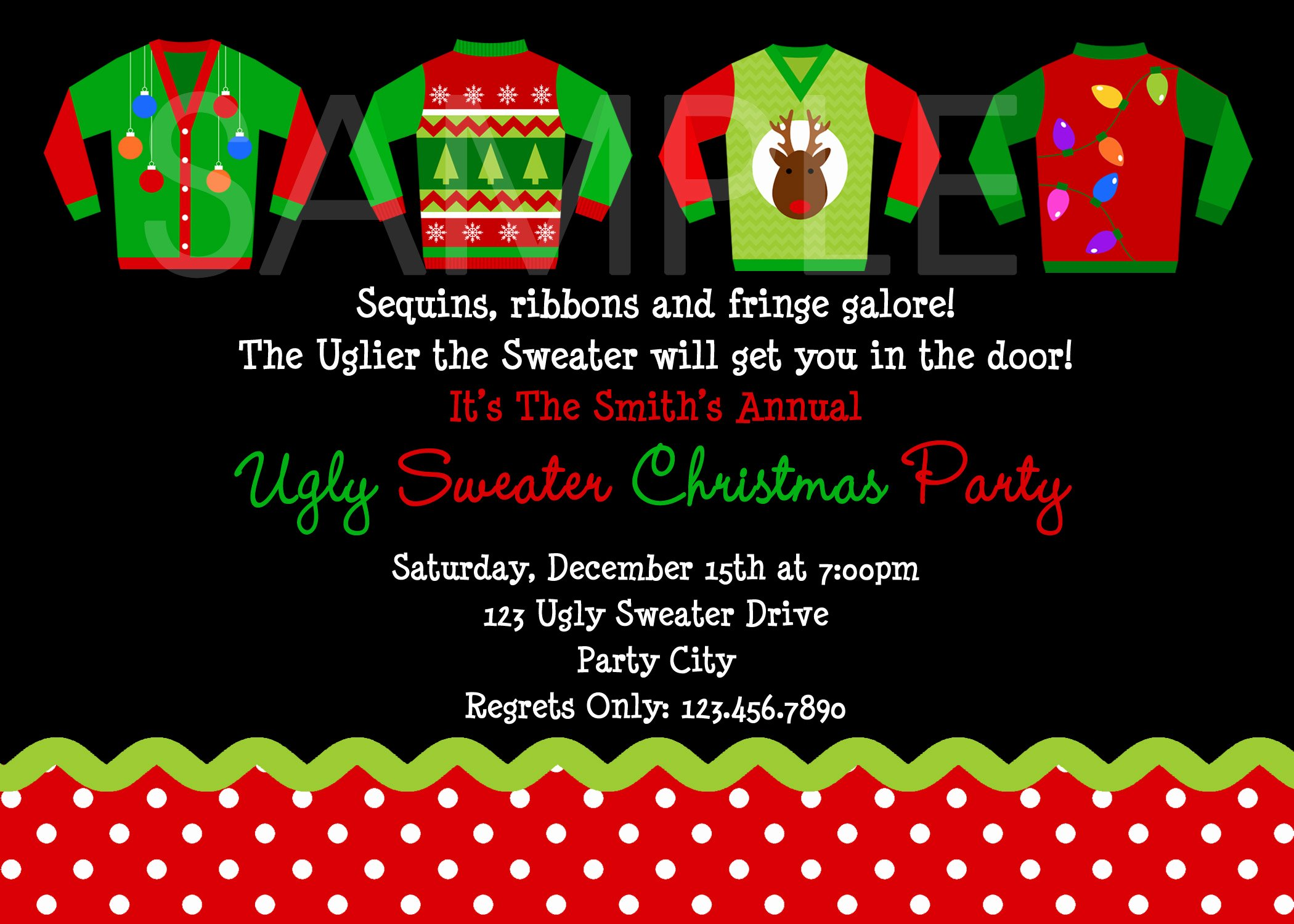 Tacky Christmas Sweater Party Invitation Wording New Custom Holiday Card Print Your Own Personalized