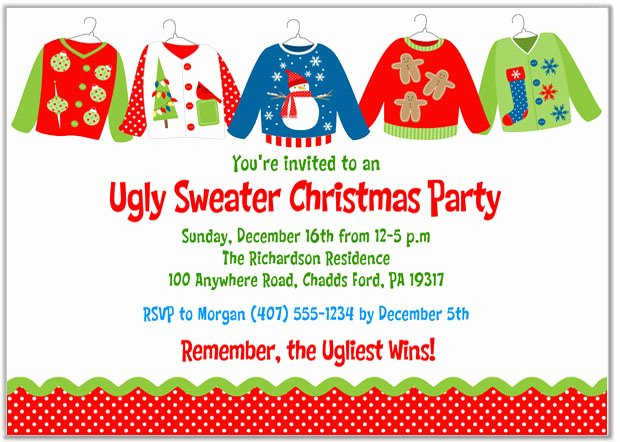 Tacky Christmas Sweater Party Invitation Wording Unique Christmas Party Invitations Ugly Sweater