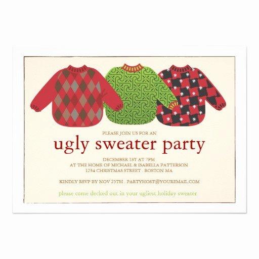 """Tacky Christmas Sweater Party Invitation Wording Unique Ugly Christmas Sweater Party Invitation 5"""" X 7"""" Invitation"""